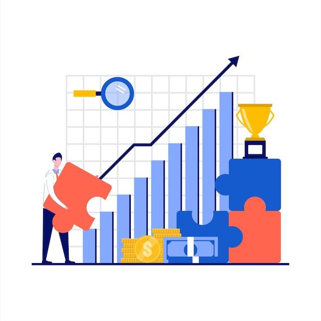 Crescita aziendale con i dipendenti che avanzano di livello e posizionano i progressi nella progettazione piana