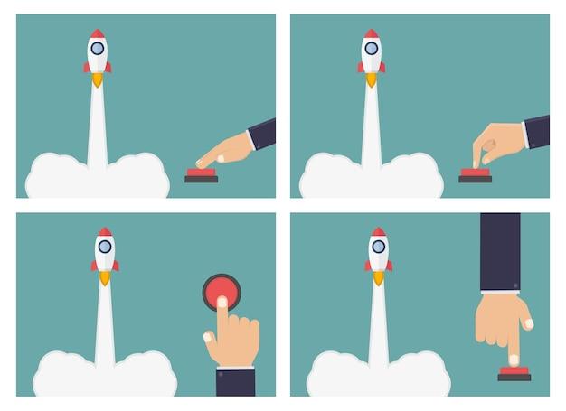 Illustrazione del pulsante del razzo di spinta della mano di affari