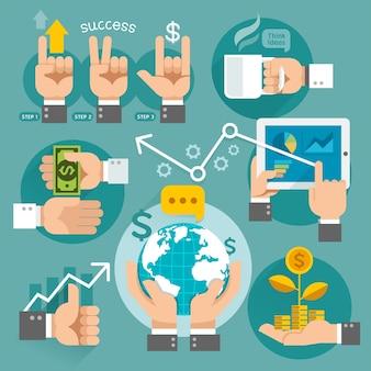 Icone di concetto delle mani di affari.