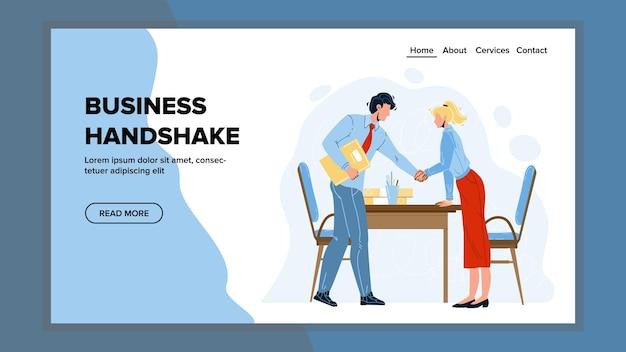 Business handshake uomo e donna partner vettore. saluto uomo d'affari stretta di mano e imprenditrice in sala conferenze. personaggi azienda lavoratori e partenariato web piatto fumetto illustrazione