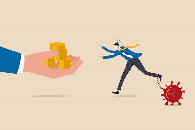 Aiuto aziendale, pacchetto di stimolo economico del governo nel concetto di crisi finanziaria covid-19 coronavirus, uomo d'affari con catena di maschera protettiva con patogeno virale in esecuzione per ottenere denaro dalla mano amica.