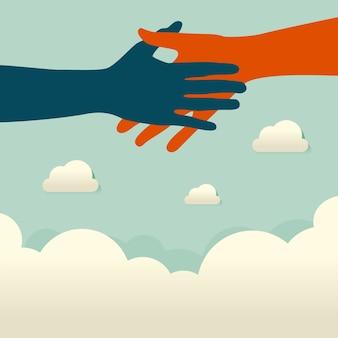 Aiuto commerciale, supporto, sopravvivenza, concetto di investimento