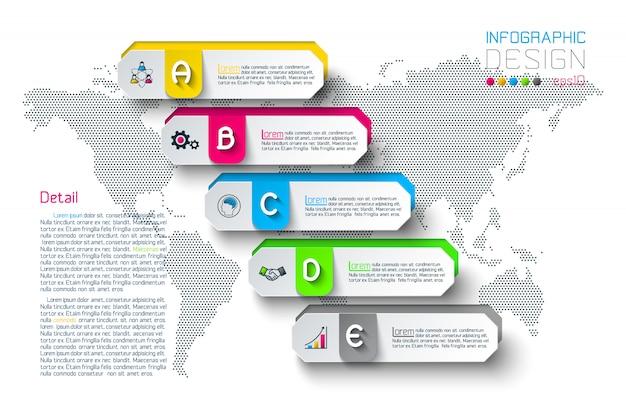 Le etichette di esagono di affari modellano la barra infographic dei gruppi.