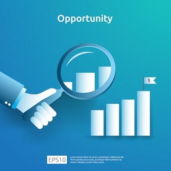 Idea di business analitica e concetto di ricerca di opportunità con aumento grafico grafico di crescita e lente d'ingrandimento a portata di mano. prestazioni finanziarie di ritorno sull'investimento illustrazione di roi con elemento freccia