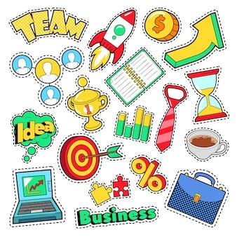 Adesivi comici di idea di affari, toppe, distintivi con laptop ed elementi finanziari. doodle di vettore