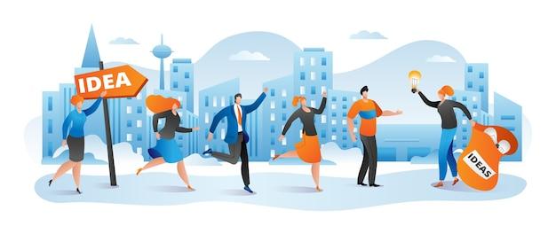 Idea di business per il concetto di carattere di persone creative