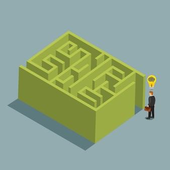Idea di business e soluzione in un concetto isometrico labirinto