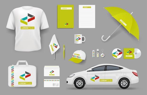Elementi di identità aziendale. collezione vettoriale di strumenti per ufficio di cancelleria souvenir di branding aziendale