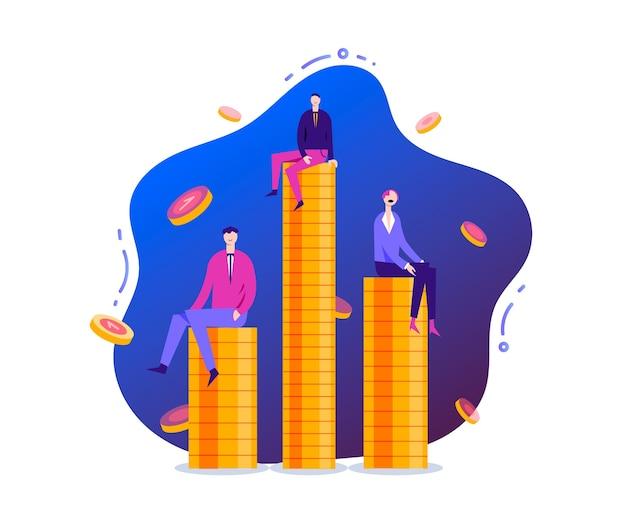 Illustrazione di affari, personaggi stilizzati. concetto di successo finanziario. uomini d'affari e imprenditrice seduti sulle monete.
