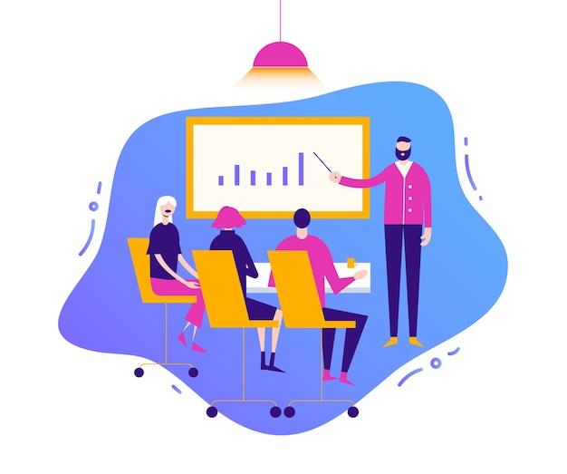Illustrazione di affari, personaggi stilizzati. incontro con persone, discussione in conferenza
