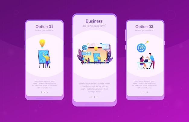 Modello di interfaccia app incubatore di imprese.