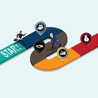 Corsa di puzzle di labirinto grafico di informazioni di affari
