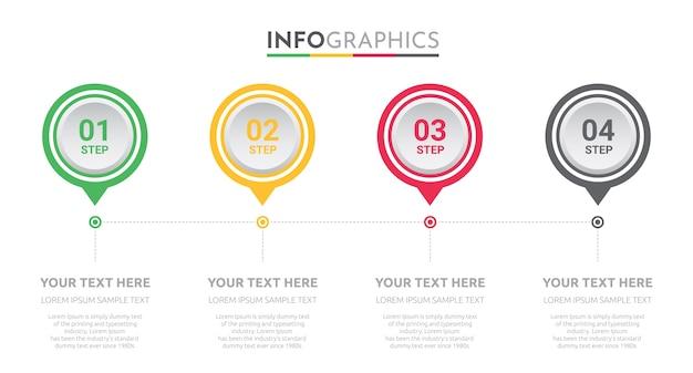 Modello di info-grafico di affari con una progettazione di 4 punti.
