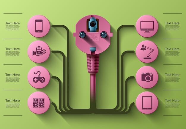 Grafica per informazioni aziendali, spina elettrica, quadrato con settori informativi sotto, illustrazione