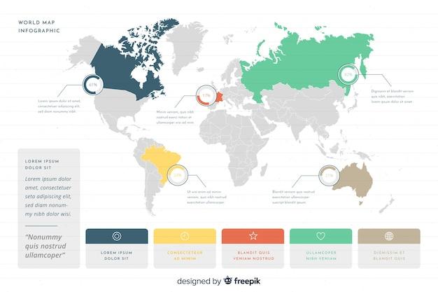 Infograhic di affari con la mappa del mondo Vettore Premium