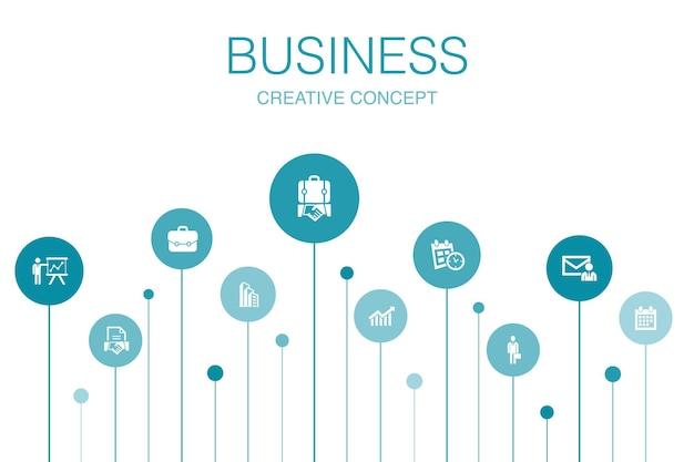 Modello di infografica aziendale 10 passaggi. uomo d'affari, valigetta, calendario, icone semplici del grafico