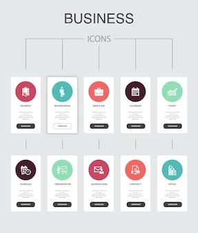 Infografica aziendale 10 passaggi di progettazione dell'interfaccia utente. uomo d'affari, valigetta, calendario, icone semplici del grafico