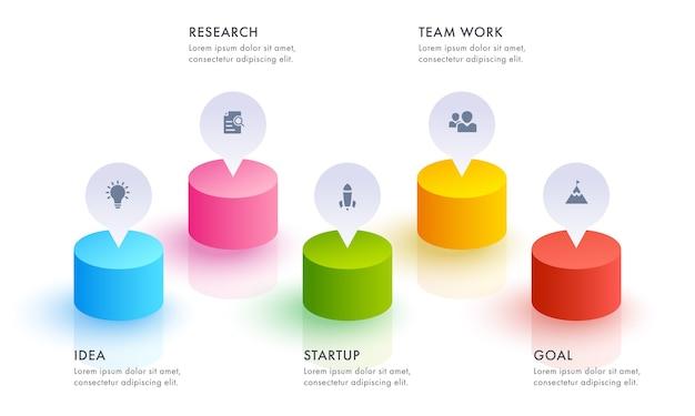 Banner di infografica aziendale o layout del modello web con l'icona di cinque passaggi