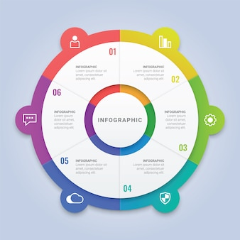 Modello di cerchio di affari infografica con 6 opzioni per layout del flusso di lavoro, diagramma, relazione annuale, web design