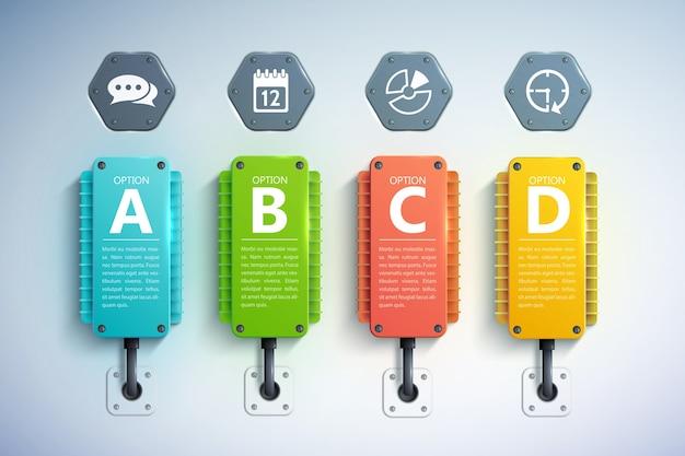 Concetto di business infografica con elementi di raffreddamento colorati testo quattro opzioni e icone