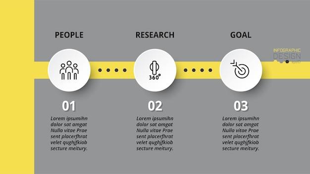 Concetto di business infografica con passaggio o opzione