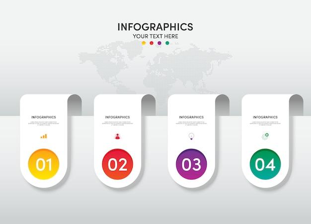 Modello di elemento di progettazione infografica affari per presentazione con 4 opzioni