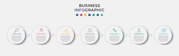 Modello di progettazione infografica aziendale e 7 sette opzioni o passaggi.