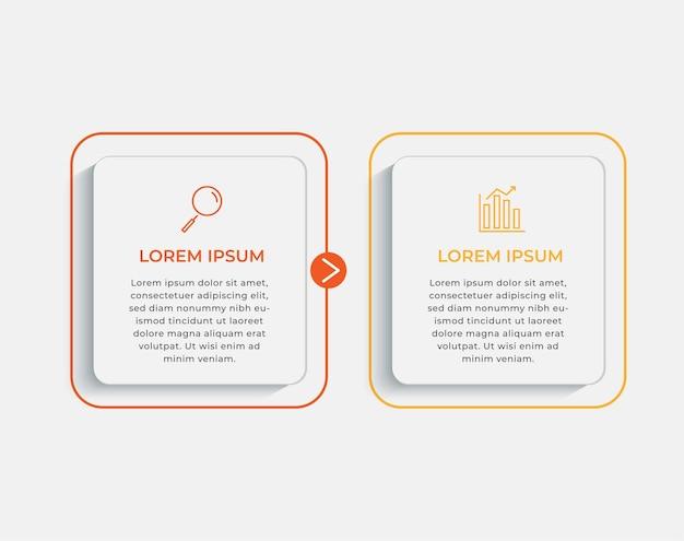 Modello di progettazione infografica aziendale vettore con icone e 2 due opzioni o passaggi. può essere utilizzato per diagramma di processo, presentazioni, layout del flusso di lavoro, banner, diagramma di flusso, grafico informativo