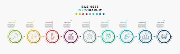 Modello di progettazione infografica aziendale vettore con icone e 9 nove opzioni o passaggi