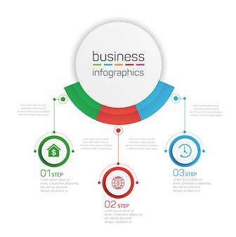 Modello di progettazione infografica aziendale con 3 opzioni, passaggi o processi