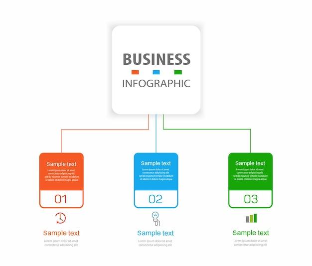 Modello di progettazione infografica aziendale con 3 passaggi o processi di opzioni