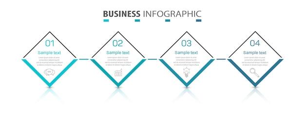Modello di progettazione infografica aziendale con 4 passaggi o processi di opzioni