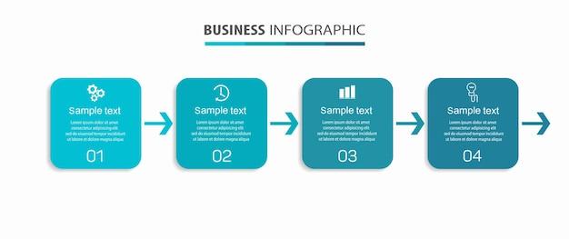Modello di progettazione infografica aziendale con 4 opzioni o passaggi