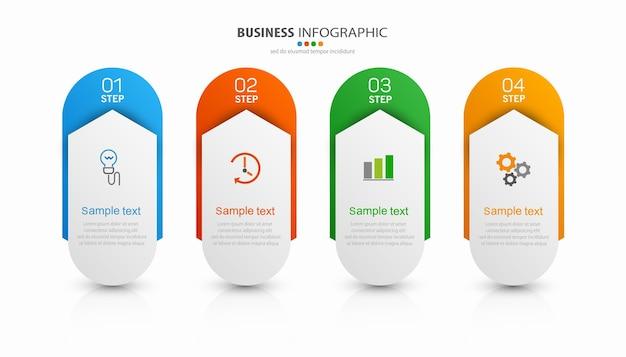 Modello di progettazione infografica aziendale con 4 passaggi