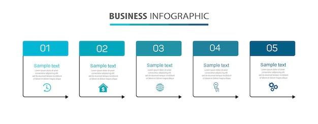 Modello di progettazione infografica aziendale con 5 passaggi o processi di opzioni