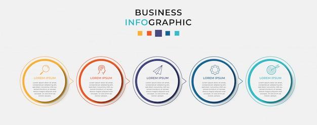 Modello di progettazione di business infografica con 5 opzioni o passaggi