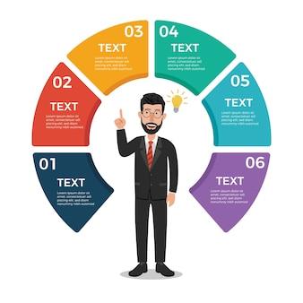 Modello di disegno di infographic di affari con l'uomo d'affari
