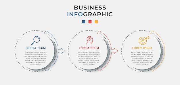 Modello di progettazione infografica aziendale con icone e 3 tre opzioni o passaggi.