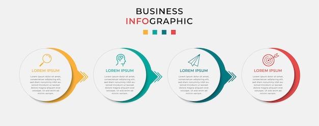 Modello di progettazione infografica aziendale con icone e 4 quattro opzioni o passaggi.