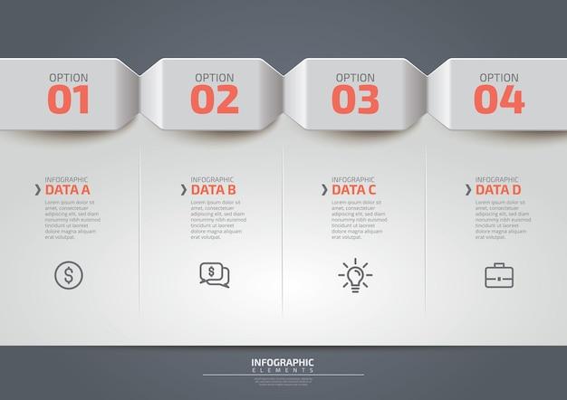 Modello di progettazione infografica aziendale con icone e 4 quattro opzioni o passaggi