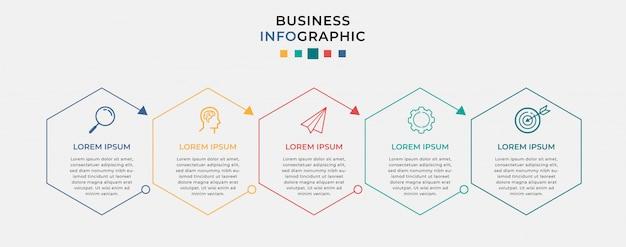 Modello di progettazione di infographic di affari con icone e 5 cinque opzioni o passaggi.