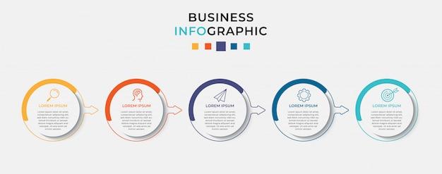 Modello di progettazione infografica aziendale con icone e 5 cinque opzioni o passaggi.