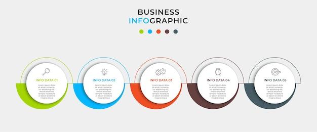 Modello di progettazione infografica aziendale con icone e 5 opzioni o passaggi