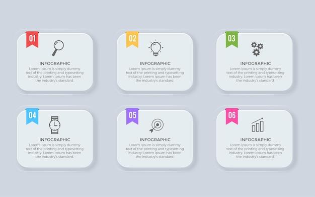 Progettazione infografica aziendale con 6 opzioni o passaggi