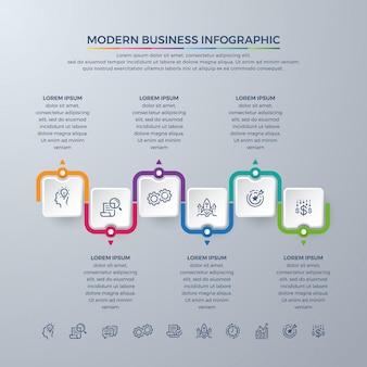 Progettazione di business infographic con 6 scelte di processo o passaggi.