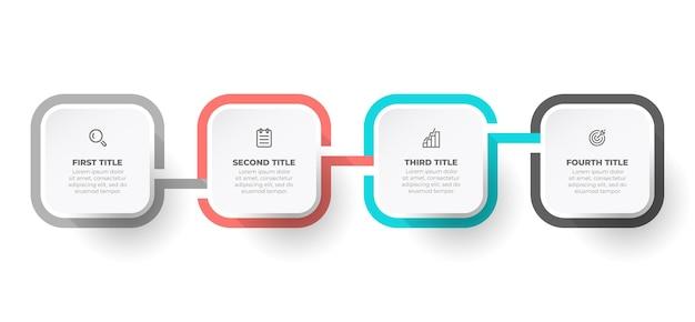 Progettazione infografica aziendale con icone di marketing e 4 opzioni o passaggi