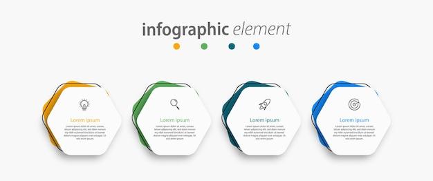 Elemento di business infografica con 4 opzioni di progettazione del modello di numero di passaggi