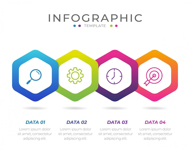 Elemento di business infografica con 4 opzioni, passaggi, modello di numero di design
