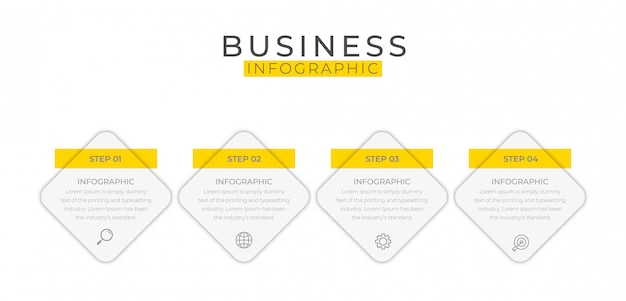 Elemento di business infografica con 4 opzioni, passaggi, disegno modello numero