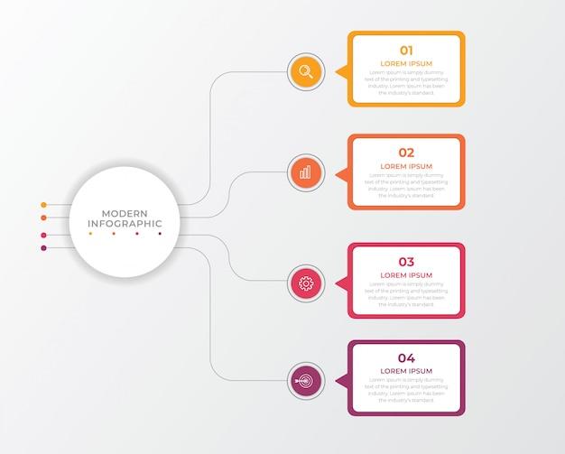 Elemento di business infografica con 4 opzioni, passaggi, design del modello di numero